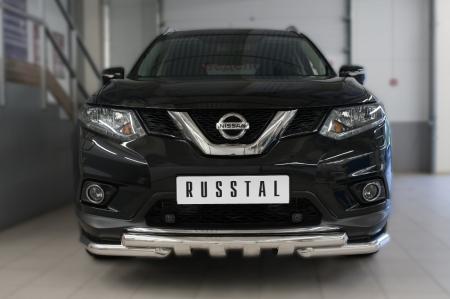 Nissan X-Trail 2015 Защита переднего бампера d63 (дуга) d63 (уголки)+клыки NXZ-002084